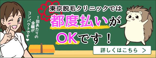 東京脱毛クリニックでは都度払いがOKです!